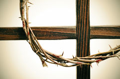 Crown of thorns and cross Stock Photos