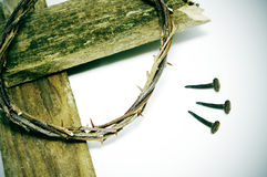 Crown of thorns, cross and nails royalty free stock images