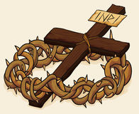 Crown of Thorns and Cross, Vector Illustration royalty free stock image