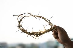 A crown of thorns. In the hand of a man on good friday Stock Photos