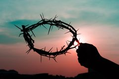 A crown of thorns. In the hand of a man on good friday Stock Images