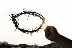 A crown of thorns. In the hand of a man on good friday Royalty Free Stock Photos