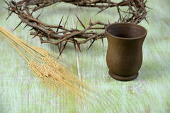 Crown of Thorns Cup of Wine and Wheat Stock Photos