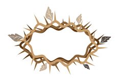 A Crown of Thorns with Dried Leaves Royalty Free Stock Image