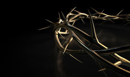Crown Of Thorns Gold On Black Stock Image