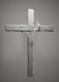 Crown of Thorns Hung Around the Easter Cross 3D Rendering Royalty Free Stock Photography
