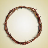 The Crown of Thorns of Jesus Christ, with a retro effect. A depiction of the Crown of Thorns of Jesus Christ hanging from a nail on a wall, with a retro effect Royalty Free Stock Photography