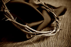 The crown of thorns of Jesus Christ, sepia toning Royalty Free Stock Image