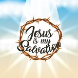 Crown of thorns jesus is my salvation lettering sky light. Vector illustration Royalty Free Stock Image