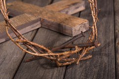 Crown of Thorns and Nails Closeup Stock Images