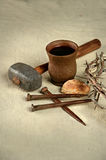 Crown of Thorns and Nails with Communion Elements Stock Images