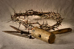 Crown of Thorns and Nails Stock Image
