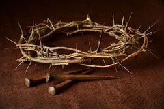 Crown of Thorns and Nails. Over vintage cloth stock photo