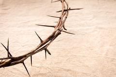 Crown of thorns. Over old fabric background, religious concept Royalty Free Stock Images