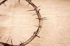 Crown of thorns. Over old fabric background, religious concept Stock Photo