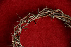 Crown of thorns Over Red Backgound Stock Photos