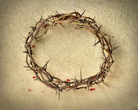 Crown of Thorns over Vintage Cloth. With blood drops Stock Image