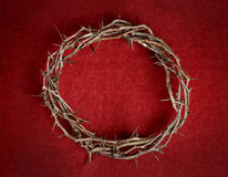 Crown of Thorns. On red background cloth royalty free stock images