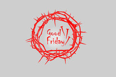 Crown of thorns in red. A crown of thorns for Good Friday, Easter, Palm Sunday and many more Royalty Free Stock Image