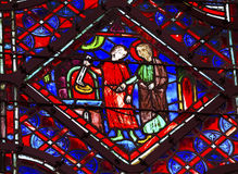 Crown of Thorns Relic Stained Glass Sainte Chapelle Paris France Royalty Free Stock Image