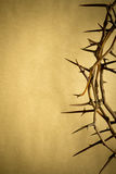 Crown Of Thorns Represents Jesus Crucifixion on Good Friday. This Crown of Thorns against parchment paper represents Jesus's Crucifixion on the Cross, dying and stock photo