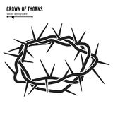 Crown Of Thorns. Silhouette Of A Crown Of Thorns. Jesus Christ. Isolated On White Background. Vector Illustration. Crown Of Thorns. Silhouette Of A Crown Of Royalty Free Stock Image