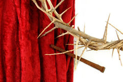 Crown of Thorns and Spike on Red Cloth Stock Images