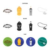 A crown of thorns, a star of David, a priest, a buddha head. Religion set collection icons in cartoon,black,flat style vector illustration