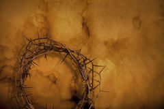 Crown of thorns on a textured background. Crown of thorns with shadow on bottom side of a textured background Royalty Free Stock Images