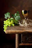 Crown of thorns and wine Royalty Free Stock Image