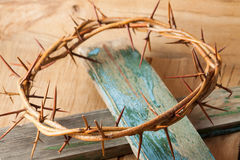 Crown of thorns on wood desk Stock Images