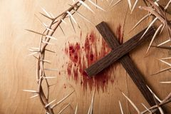 Crown of thorns on wood desk stock image