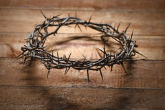 Crown of Thorns on Wood. En table royalty free stock images