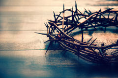 Crown of thorns. On a wooded table stock photos