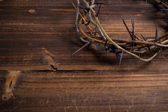 Crown of thorns on a wooden background - Easter Royalty Free Stock Images