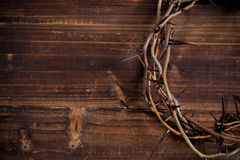 Crown of thorns on a wooden background - Easter Stock Image
