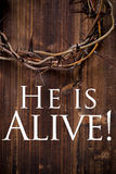 Crown of thorns on a wooden background - Easter Stock Photography