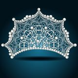 Crown tiara with pearl white female Royalty Free Stock Images