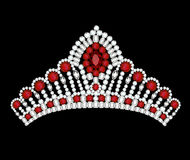 crown tiara woman with red jewels Stock Photography