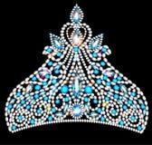 Crown tiara women with blue precious stones Royalty Free Stock Photos
