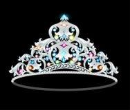 Crown tiara women with glittering precious stones Royalty Free Stock Photos