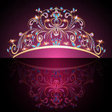 Crown tiara womens gold with precious stones Stock Photography