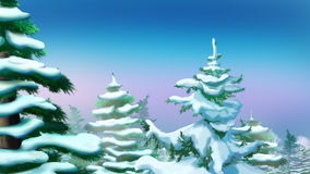 Crown Tree Covered Snow. Handmade illustration in a classic cartoon style Stock Image