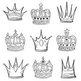 Crown various hand draw collection Royalty Free Stock Photography