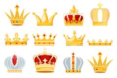 Crown vector golden royal jewelry symbol of king queen and princess illustration sign of crowning prince authority set royalty free illustration