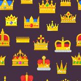 Crown vector golden royal jewelry symbol of king set queen princess crowning prince authority crown jeweles seamless. Pattern background Stock Image