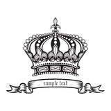 Crown. Vector illustration eps.10.. Stylish black and white  crown Stock Photos