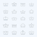 Crown vector outline stroke icons set Royalty Free Stock Images