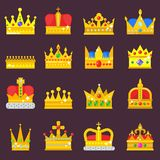 Crown vector set golden royal jewelry symbol of king queen princess crowning prince authority crown jeweles. Illustration Stock Photos