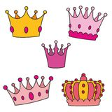 Crown vector set  on white background Royalty Free Stock Photo